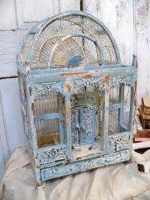 Shabby Chic Home Decor For Sale Large Ornate Carved Wood Birdcage Hand Painted French Blue