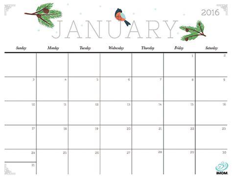 January 2016 Calendar Printable Weekly And Crafty 2016 Printable Calendar