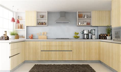 parallel modern modular kitchen with brown