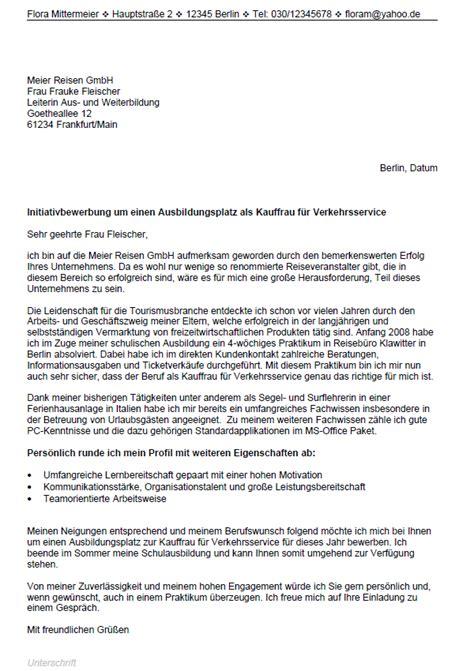 Initiativbewerbung Und Bewerbung Bewerbung Kauffrau Mann F 252 R Verkehrsservice Ausbildung Sofort