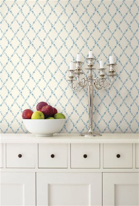 blue kitchen wallpaper uk blue floral trellis wallpaper traditional kitchen