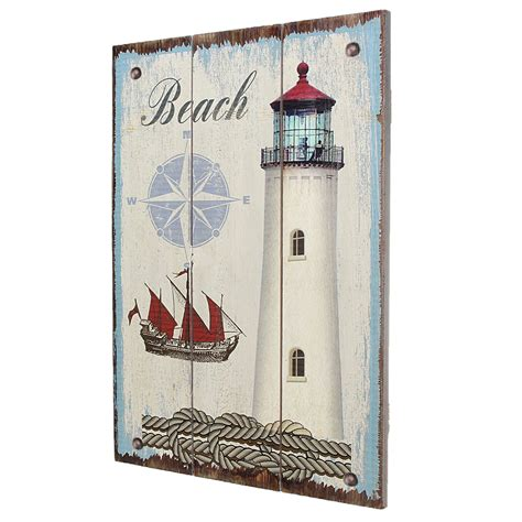 nautical home decor inspiration the diy lighthouse nautical lighthouse vintage wood print wall art painting