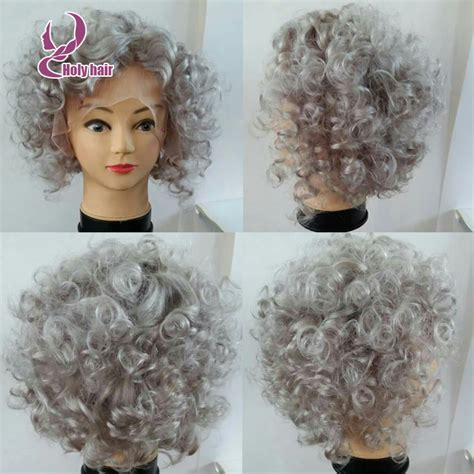 gray hair pieces for american hotsale silver grey human hair wig short curly bob wigs 8a
