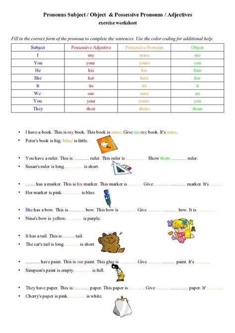 Exercise Worksheets by Possessive Pronouns Adjectives Exercise Worksheet Nouns