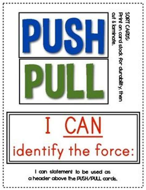 Push And Pull Card Template by And Motion Push And Pull Cards For Sorting