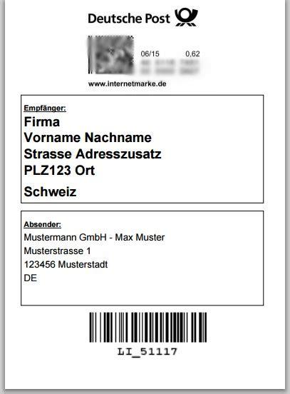 Etiketten Briefmarken Drucken by Internetmarke Deutsche Post Versandetikett