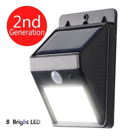 solar powered led motion sensor light 8 bright led wireless waterproof solar powered motion