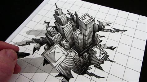 3d illusion l youtube optical sketch design wallpaper how to draw a hole 3d city
