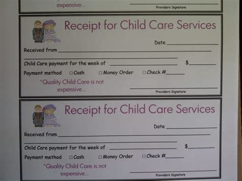 receipt book template for child care service daycare reciept studio design gallery best design