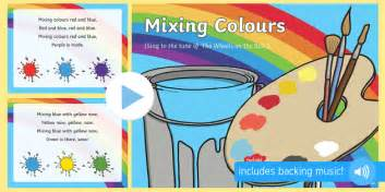 the song colors colour mixing colours song powerpoint