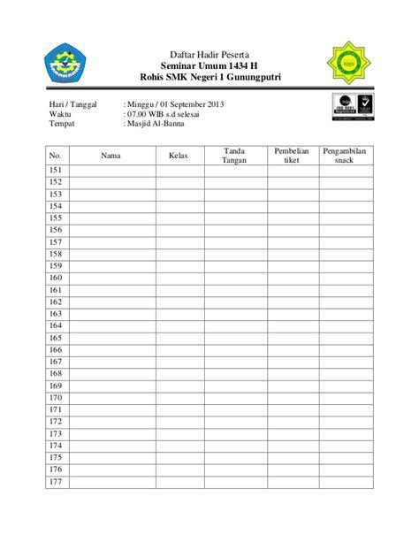 contoh format daftar hadir rapat desa daftar hadir peserta