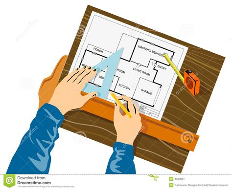 drawing house plan hands drawing house plan stock image image 4530851