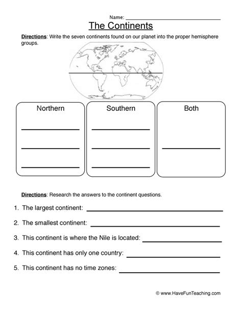 Worksheets For by Continents Worksheet 1