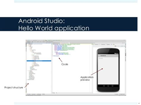 android studio hello world android components manifest