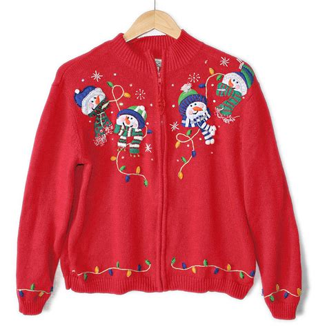 ugly christmas sweater with lights snowmen and christmas lights tacky ugly holiday sweater