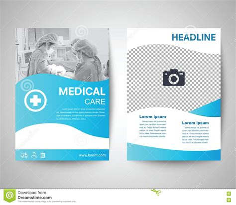 medical design magazine blue medical flyer a4 template stock vector image 72171986
