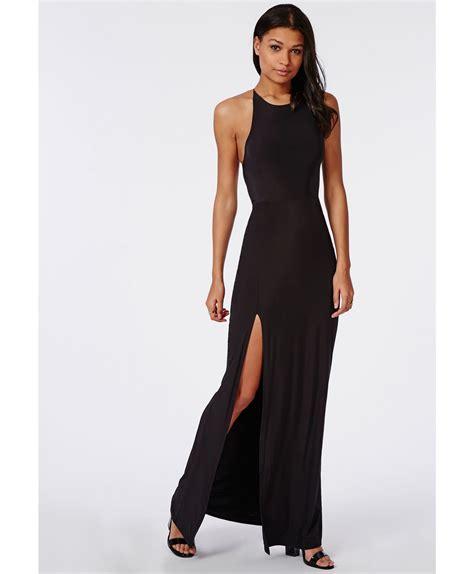 dres black missguided slinky side split maxi dress black in black lyst