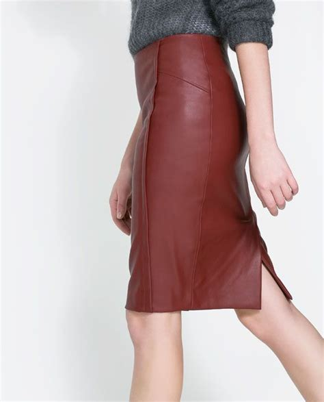 burgundy leather pencil skirt pieces