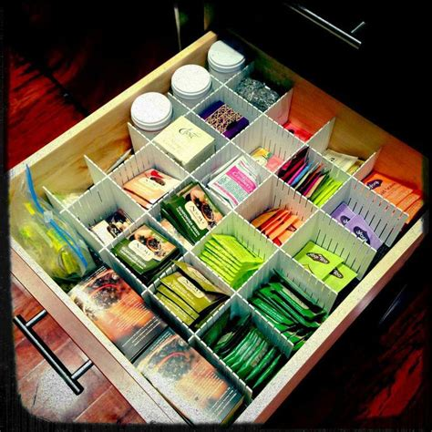tea organization my organized tea drawer finally i used some dividers i
