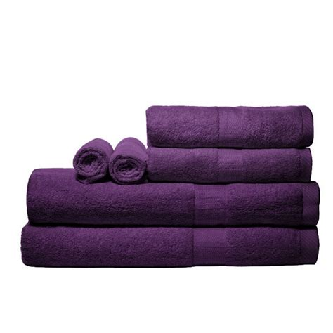bathroom towels sets pure fiber 100 bamboo 6 piece bath towel set purple