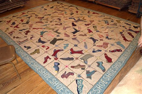 American Handmade Shoes - vintage american handmade hooked shoe rug 1960s for sale