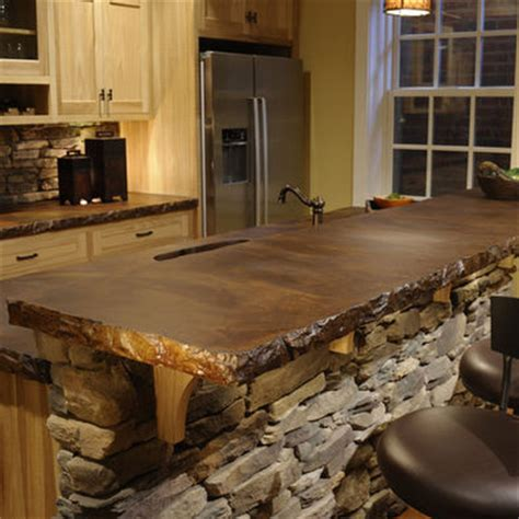 log bar tops stained concrete countertops on pinterest concrete
