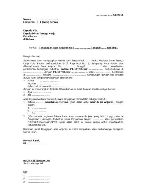 draft surat tanggapan atas anjuran mediator disnaker blank