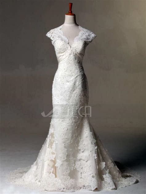 vintage inspired lace wedding dress keyhole back wedding gown shabby chic wedding dress w785