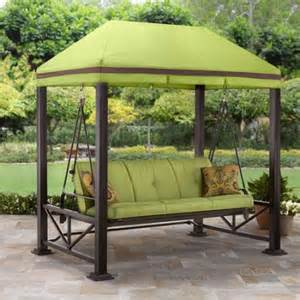 Patio Swing Daybed With Netting Better Homes And Gardens Sullivan Pointe 3 Person Outdoor