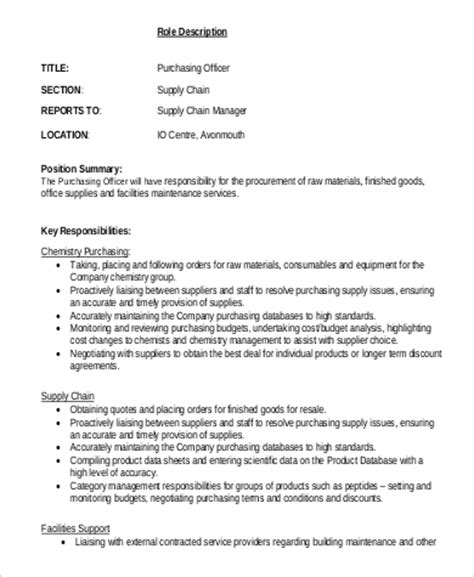 purchasing assistant description purchasing officer description sle 6 exles in pdf