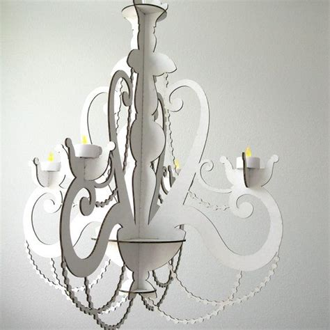 Hanging Tea Light Chandelier Laser Cut Chandelier Tea Light White Chandelier Cardboard Chandelier Candle Chandelier
