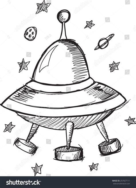 doodle ufo doodle sketch ufo flying saucer vector stock vector