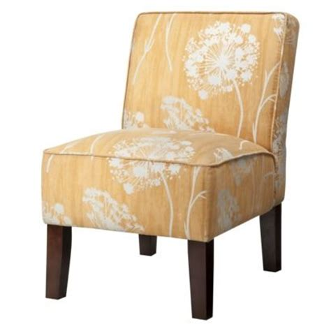 yellow patterned slipper chair armless upholstered slipper chair butterscotch floral