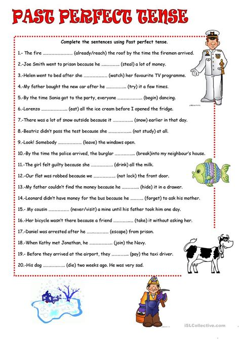 verb tense worksheets past perfect past perfect tense worksheet free esl printable