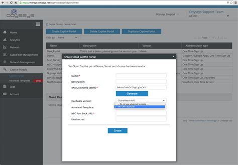 captive management template using a template to create a new captive portal odyssys