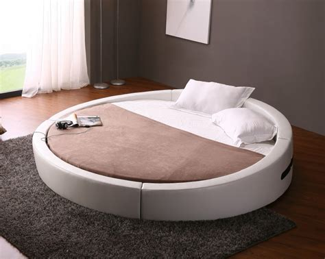 round leather bed opus modern white leather round platform bed