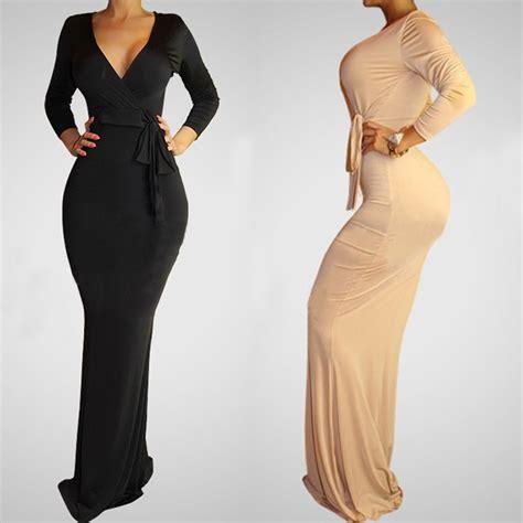 Lined Playsuit Dress Terusan Pakaian Wanita v dalam leher wanita bodycon dress lengan panjang one lantai dress panjang vestido
