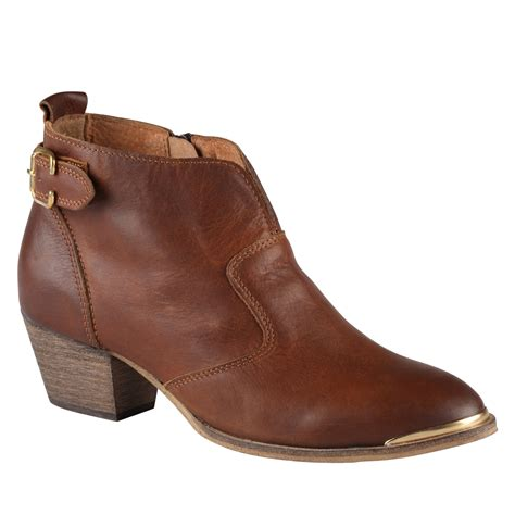 boot for aldo cham leather ankle boots in brown cognac lyst
