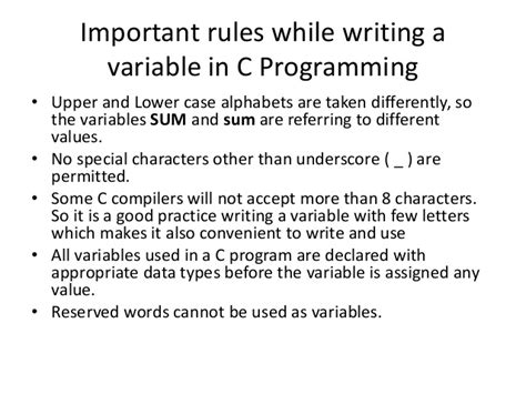 Character Variable Letter Constants And Variables In C Programming