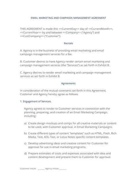 Email Marketing And Caign Agreement 3 Easy Steps Email Contract Template