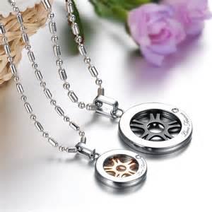 Couples wheel titanium steel cz pendants necklaces matching set