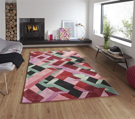 modern geometric rugs designer wool blend geometric rug adam daly multi colour