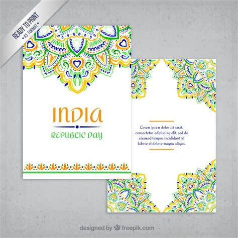 Printable Greeting Cards India | ornamental india greeting card vector free download