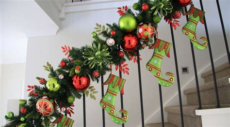 garland for staircase with lights stair garlands with lights decoratingspecial com