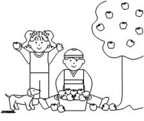 apple picking coloring pages kids picking apples