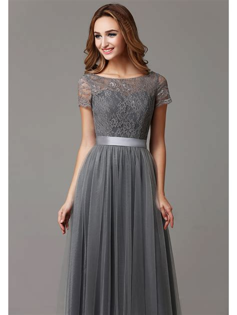 Gray Floor Length Bridesmaid Dresses by Gray Lace Tulle Floor Length Sleeves Sheer Neckline