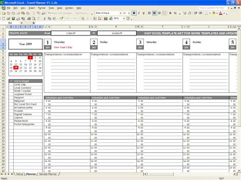 travel plan template excel travel planner excel templates