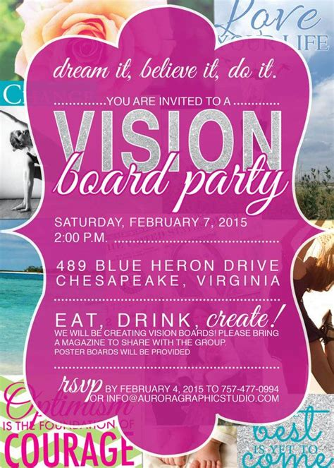 34 Best Images About Vision Board Party On Pinterest New Year S Party Invitations And Vision Vision Board Invitation Template