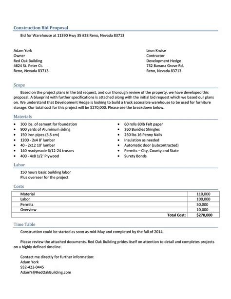 31 Construction Proposal Template Construction Bid Forms Bid Form Template Free