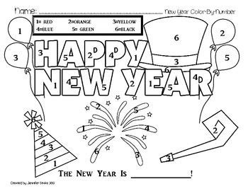 new years colors new year color by number freebie preschool coloring